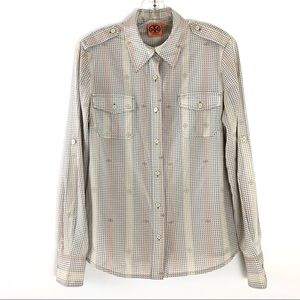 Tory Burch Brigitte Silk Blouse Size 8 G553